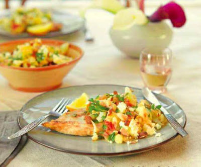 Chicken with Warm Cauliflower, Feta and Almond Salad