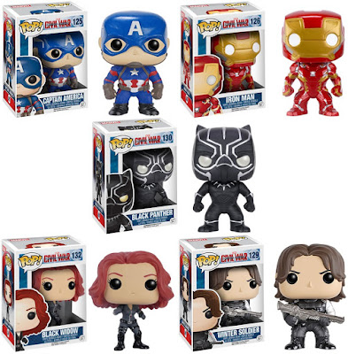 Captain America Civil War Pop! Marvel Vinyl Figures by Funko - Captain America, Iron Man, Black Panther, Black Widow & Winter Soldier