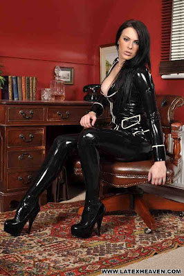 Busty Emma Black Latex Jacket Leggings and Heels