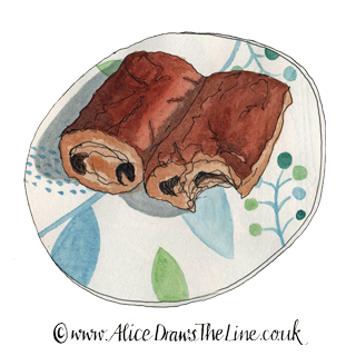 www.AliceDrawsTheLine.co.uk :: Pain au Chocolate