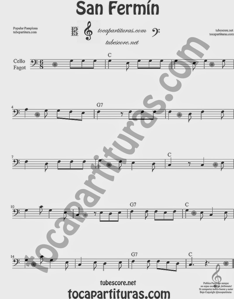 San Fermín Partitura de Violonchelo y Fagot Sheet Music for Cello and Bassoon Music Scores