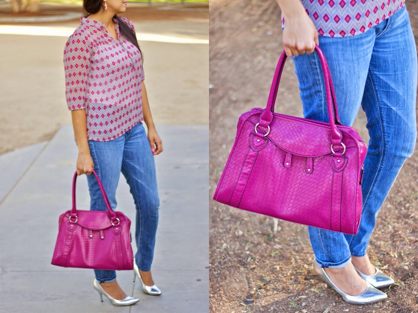 DownEast Basics Woven Attache Bag, Woven Attache Bag, purple purse, magenta handbag, chic casual outfit, silver heels
