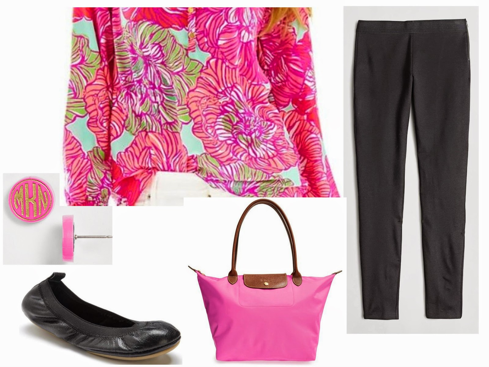 air travel outfit blogger lilly pulitzer monogram earring j crew longchamp