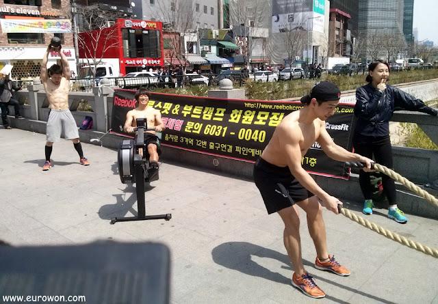 Coreanos musculosos sin camiseta