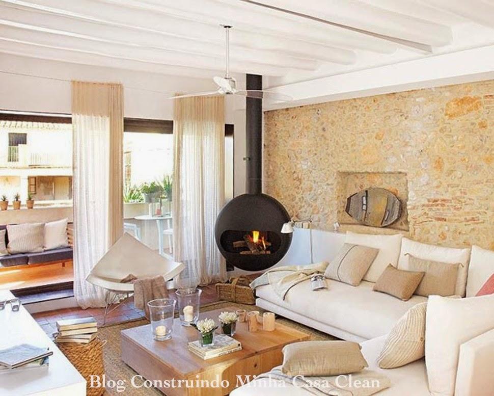 Construindo minha casa clean 30 casas de campo decoradas for Casa moderna y rustica