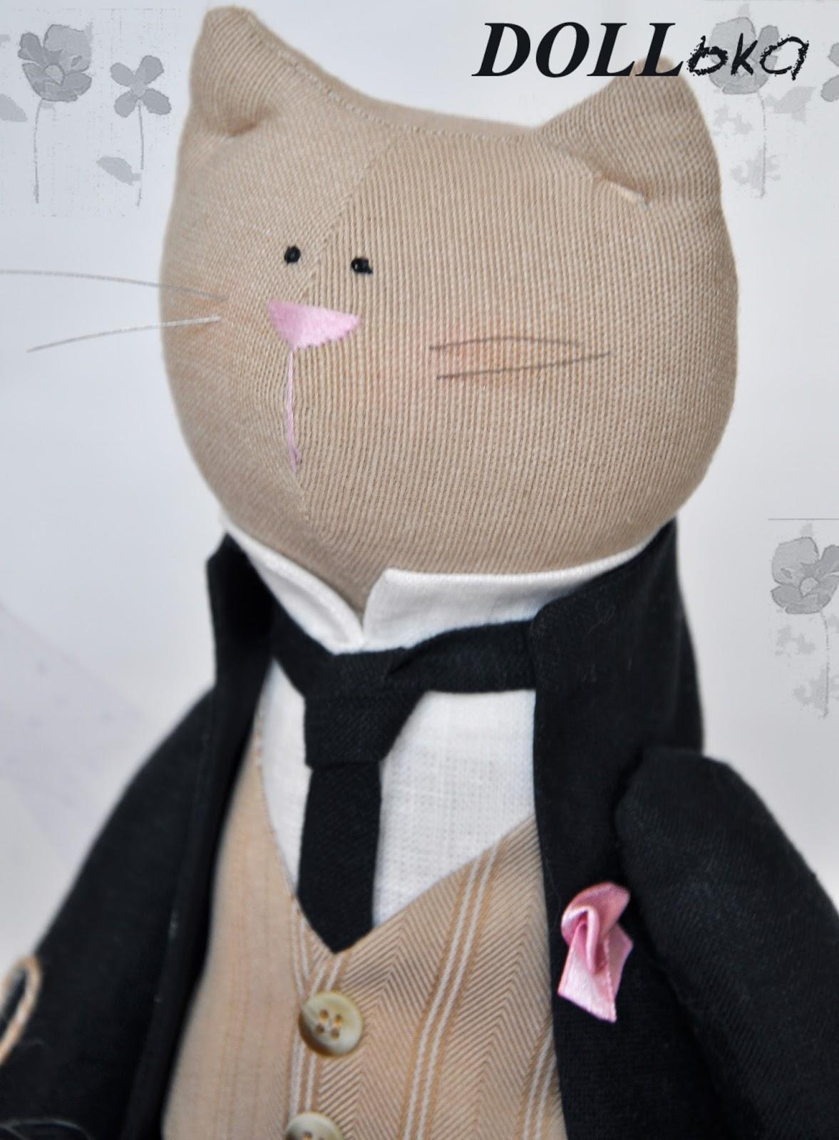 коты свадебные текстильные игрушки ручной работы