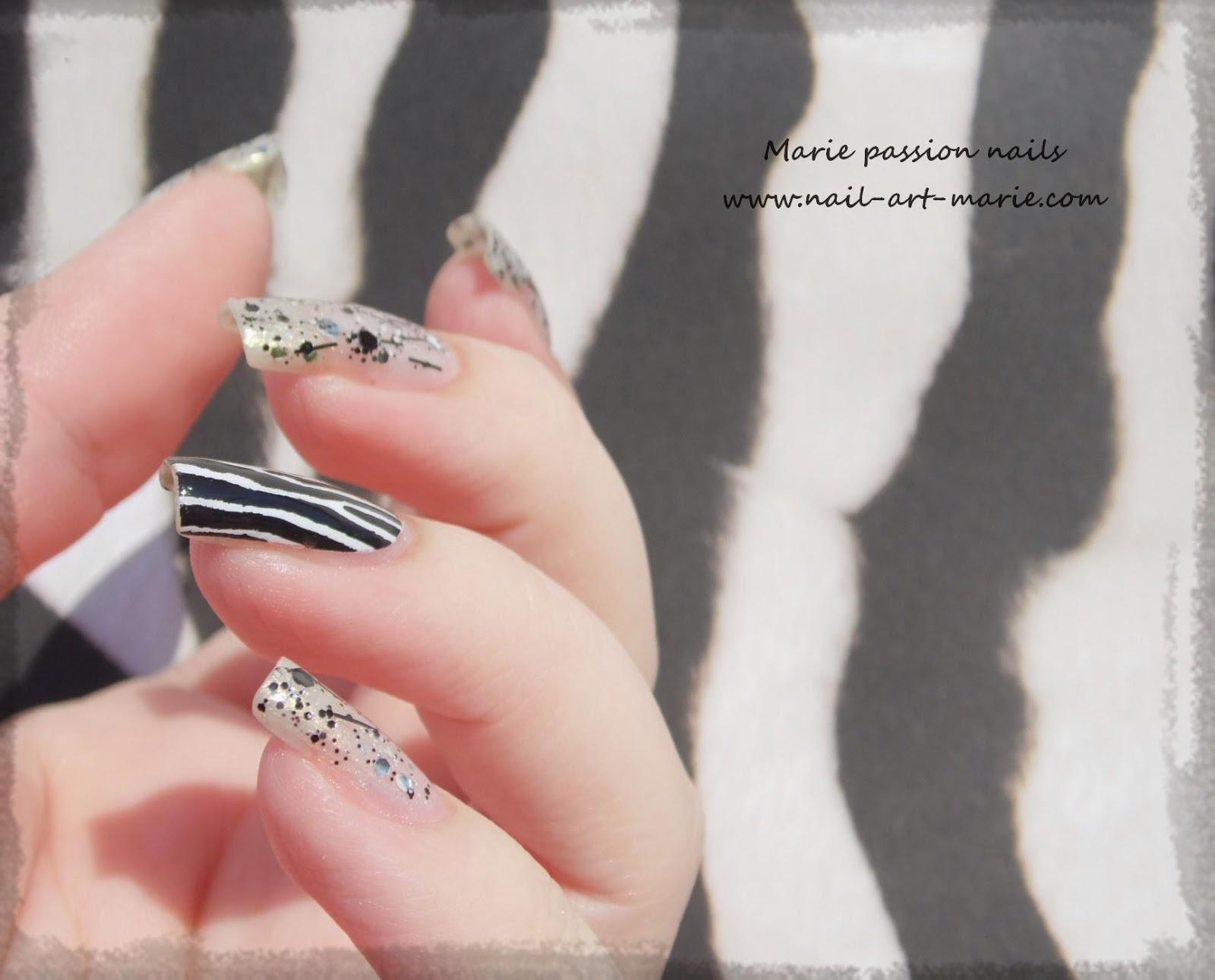 Nail art accent nail zébré4
