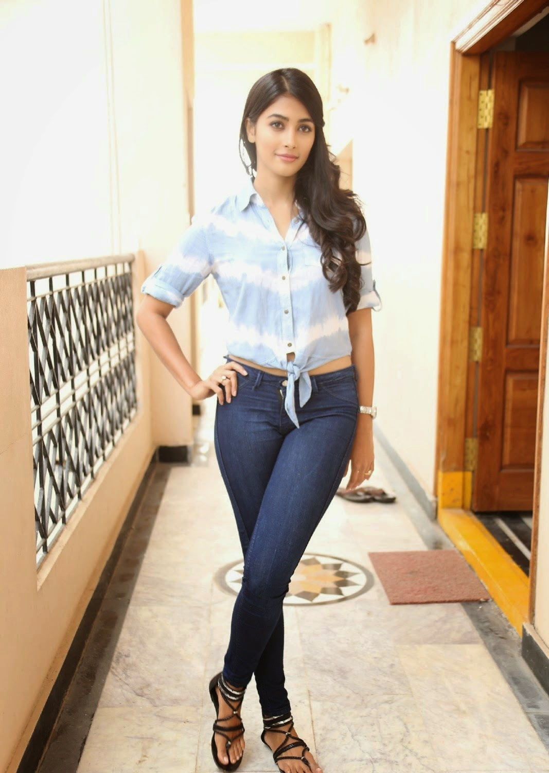 Pooja Hegde in Lovely Denim Jeans and Crop Top Shirt Stunning Beauty HQ Pics must see