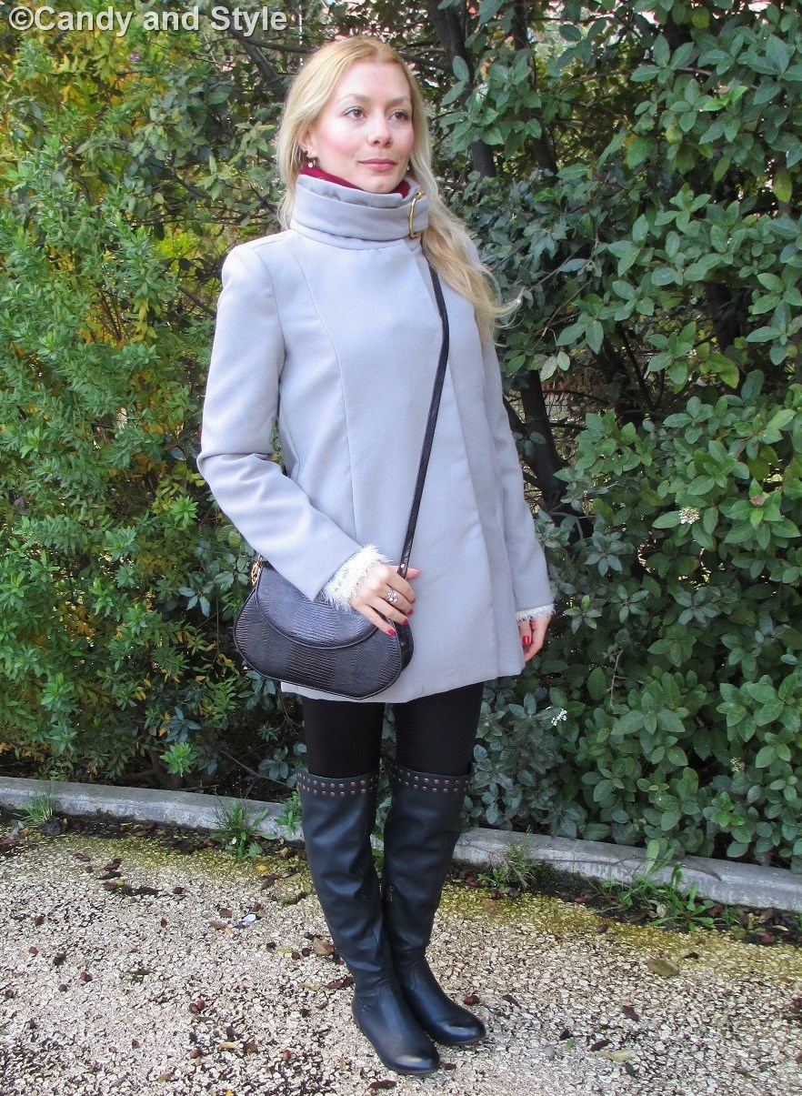 Grey Coat, Black Leggings, Over the Knee Boots - Lilli, Candy and Style Fashion Blog