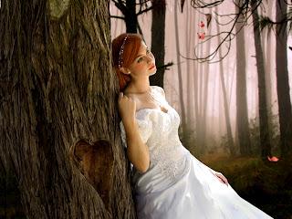 صورة بنت ايمو حزينة بفستان زفاف