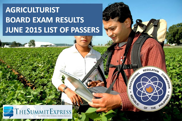 June 2015 Agriculturist board exam results