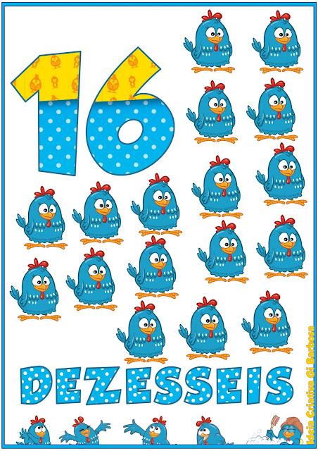 Numerais de Parede Galinha Pintadinha 10 a 20 Para Imprimir Grátis