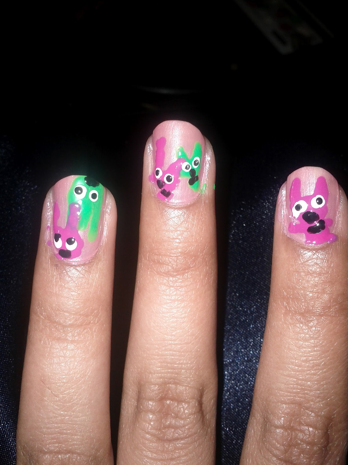 Nail designsart draw lines in the order of light pink lime green blue and glitter pink or a bright pink draw black dots on the darker pink optional i was going for the prinsesfo Choice Image