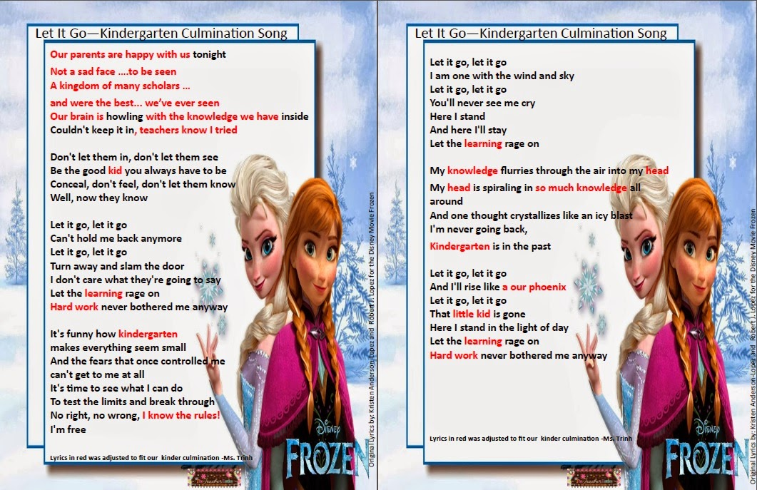 The Teacher Tattles: Kindergarten Culmination - Frozen Song