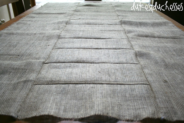 sewing a burlap tablecloth
