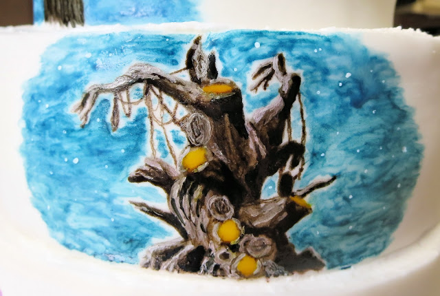 Hand Painted Peter Pan Cake - Close Up of Hangman's Tree Scene