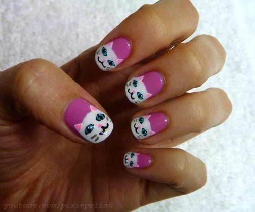 Catsparella: Pretty Kitty Nail Art Tutorial