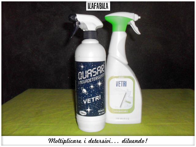 Moltiplicare i detersivi... diluendo lo spray per i vetri