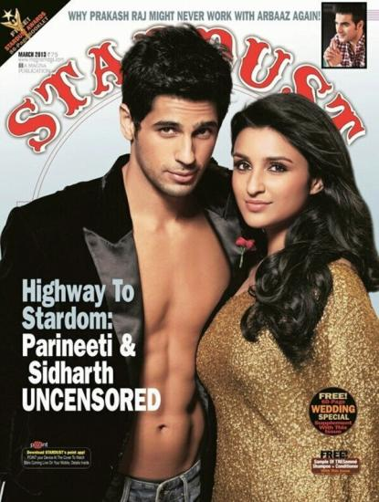Siddharth Malhotra and Parineeti Chopra on the cover of Stardust