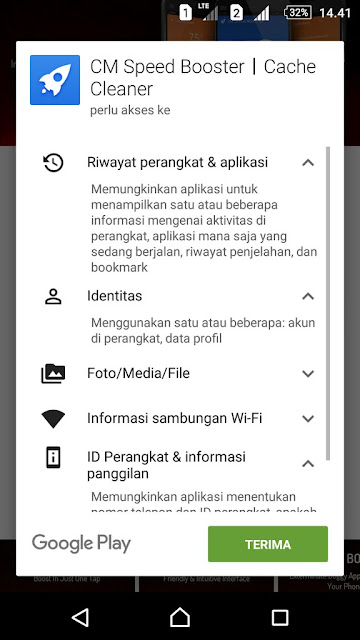 Permission sebelum menginstall aplikasi developer Cheetah Mobile