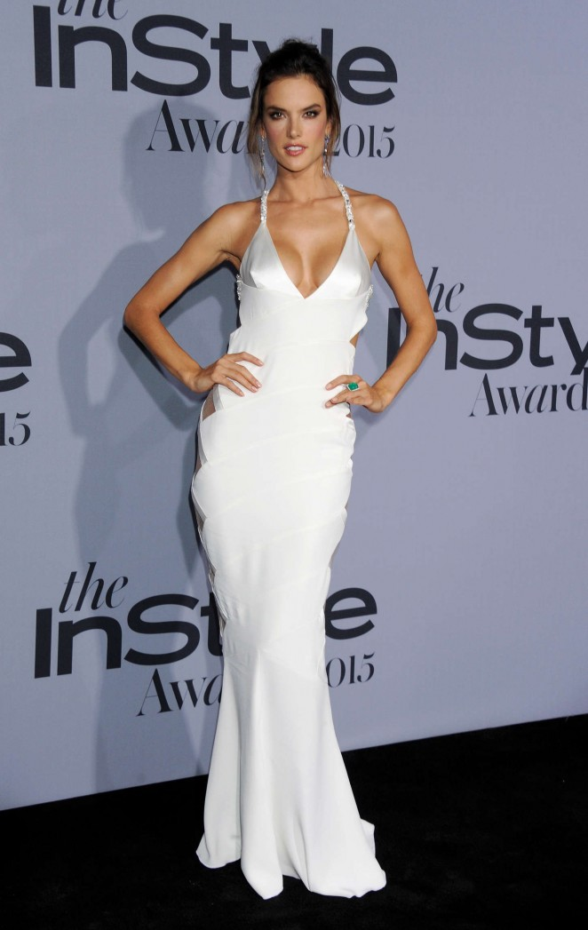 Alessandra Ambrosio goes braless in daring dress at the InStyle Awards 2015