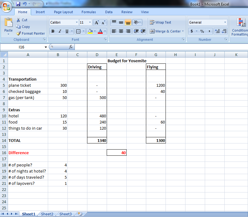 simple budget excel