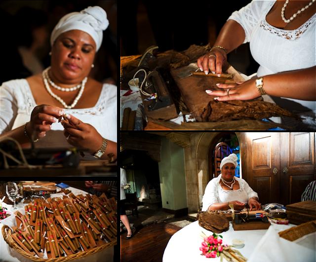 Mujer cubana liando puros en la boda