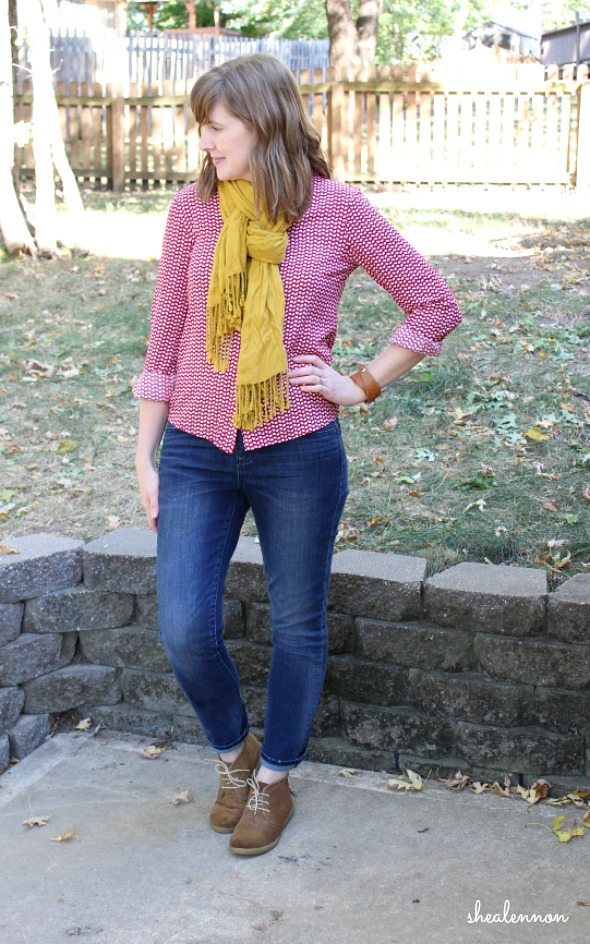 print blouse with jeans and scarf for casual weekend look | www.shealennon.com