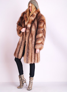 Vintage brown shaggy fox fur coat