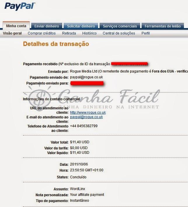 wordlinx pagamento payout payment cashout ganha dinheiro fácil ptc paypal dólar dollar