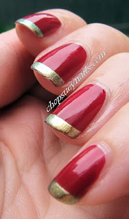 easy xmas nail art - red with gold french tips essie and opi polishes
