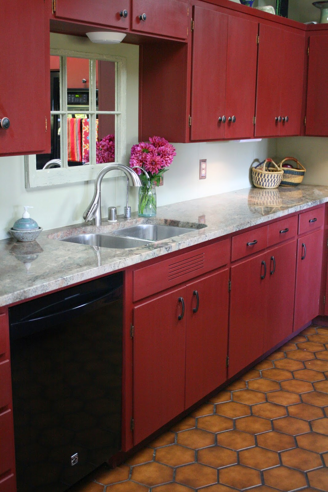 Red Kitchen Cabinets ~ Reloved rubbish primer red chalk paint kitchen cabinets