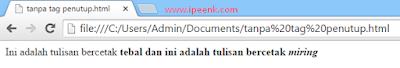 Tag HTML Penutup