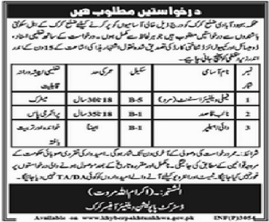 Vacancies in Population Welfare Department Karak, KPK