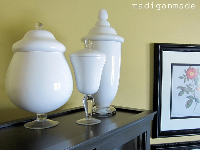 DIY Painted Milkglass Apothecary Jars