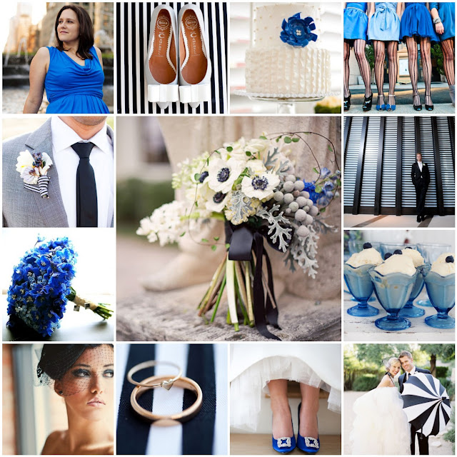 blue, black and white stripes wedding