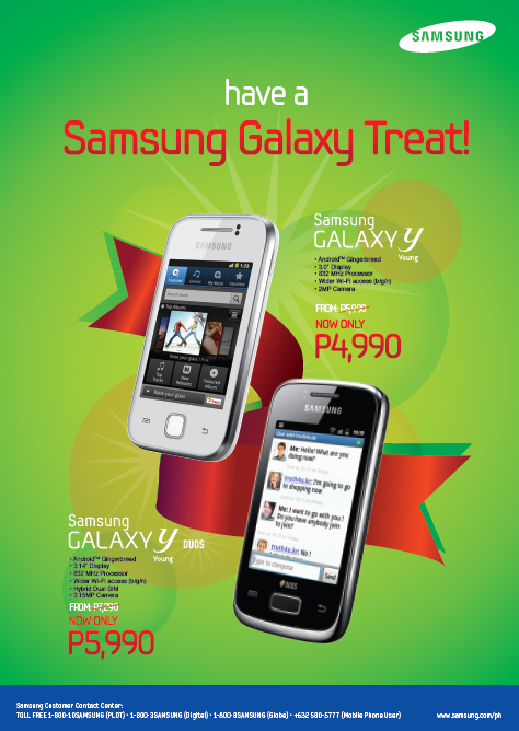 Samsung Galaxy Treat: Get Samsung Galaxy Y and Samsung Galaxy Y Duos at Discounted Prices!