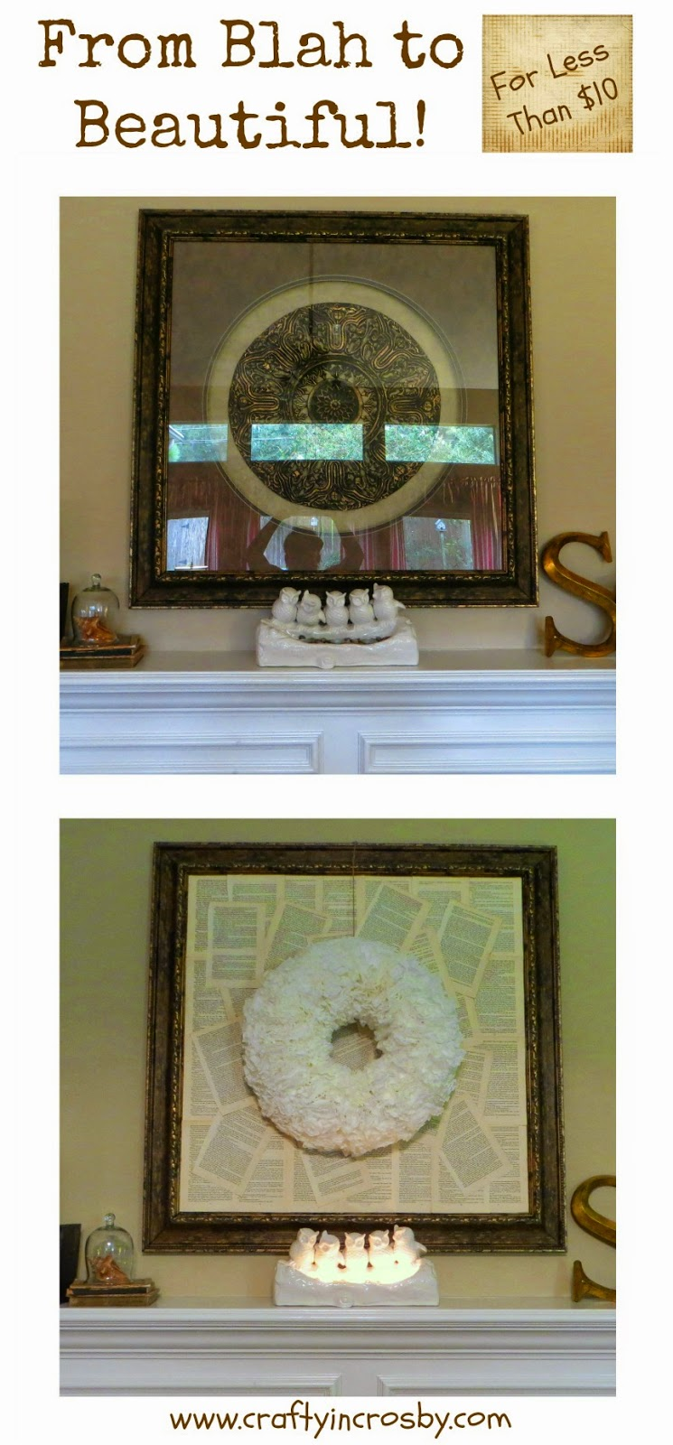 book page art, coffee filter wreath, upcycled book, vintage, refreshed, updated mantel, fireplace mantel
