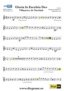 Gloria In Excelsis Deo Partitura del Villancico en Clave de Sol para Flauta, Violín, Saxofón Alto, Trompeta, Violín, Oboe, Saxo Tenor, Soprano Sax, Barítono, Fliscorno y otros instrumentos en clave de Sol en 2º línea. Christmas Carol Gloria In Excelsis Deo Sheet Music in key G Music Score
