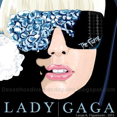 """Desenho da capa do álbum """"The Fame"""", da Lady Gaga, feito no MS Paint."""