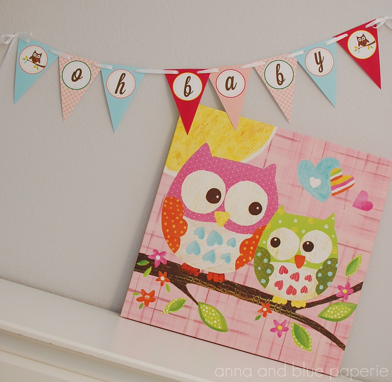Anna and blue paperie new to the shop owl love you for Baby shower owl decoration ideas