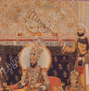 The fantastic headdress affected by Bahadur Shah II, last of the Mughal emperors belies his loss of power. After the Mutiny in 1857, he was exiled by the British to Rangoon. He died there in 1862.