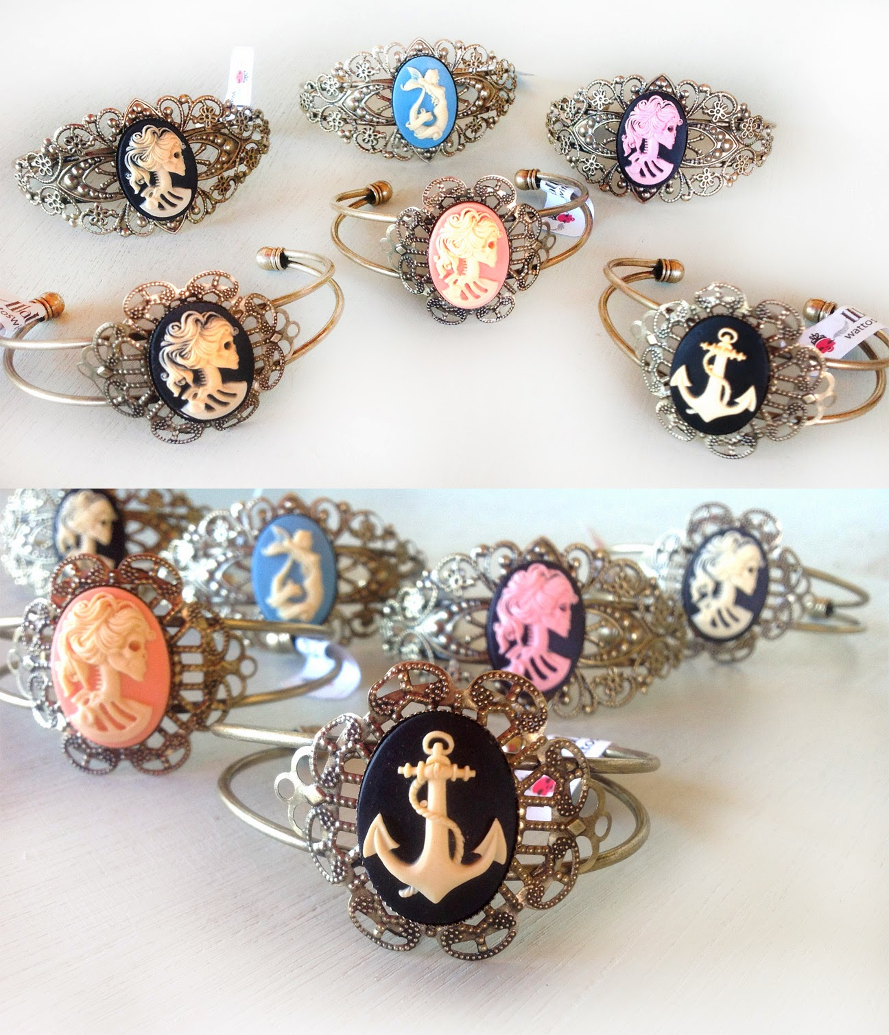 Skull, anchor, mermaid cameos on antique bronze cuff bracelets