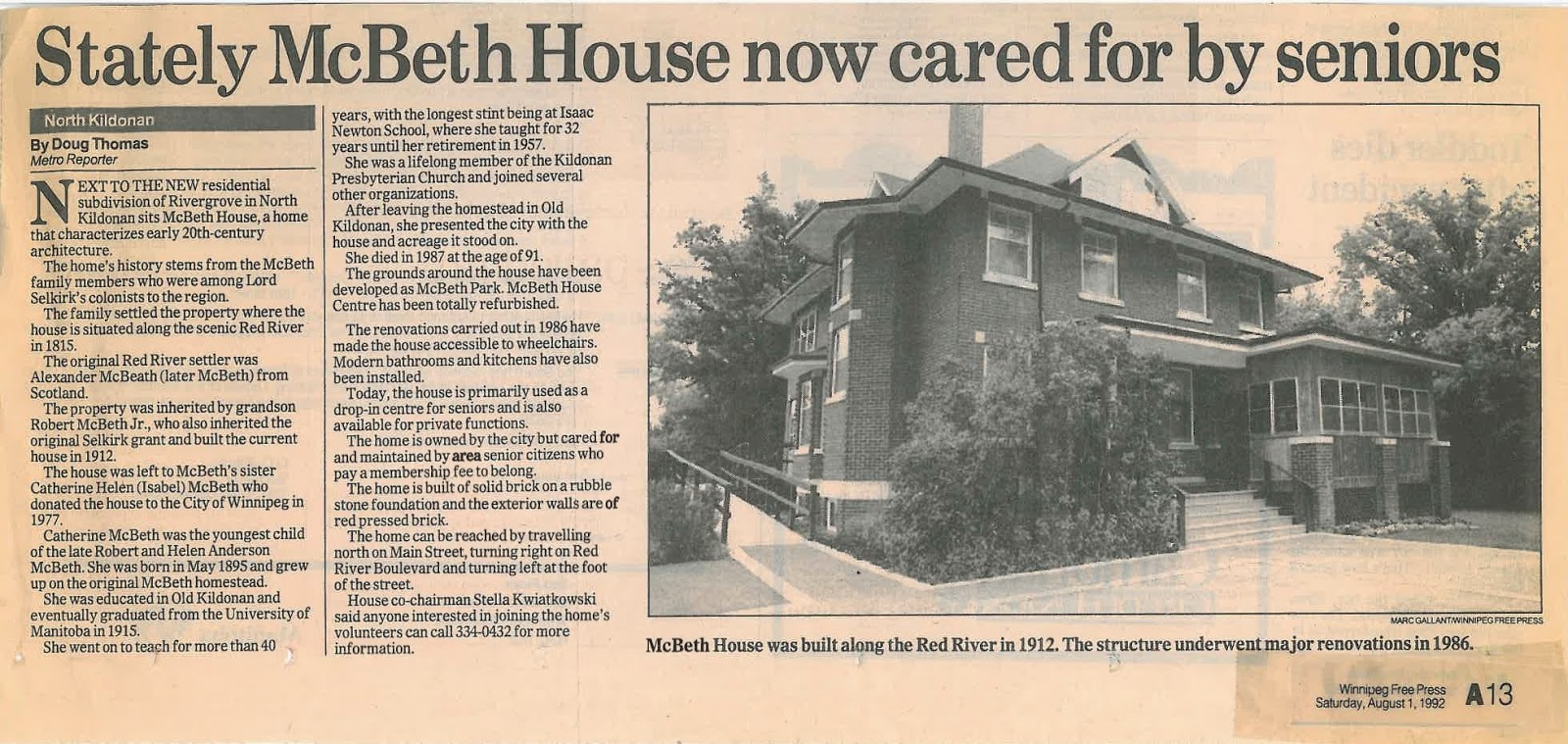 Stately McBeth House now cared for by seniors - click for article PDF