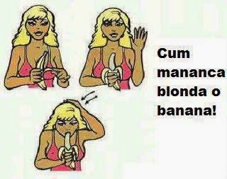 cum mananca o blonda banana