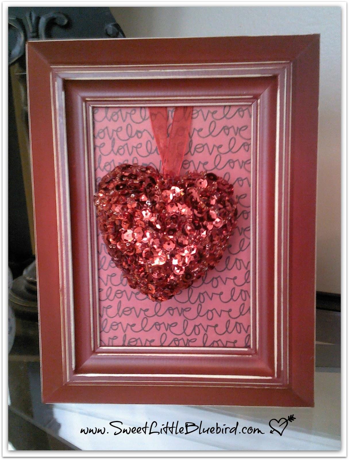 DIY Framed Valentine\'s Day Decor - Sweet Little Bluebird