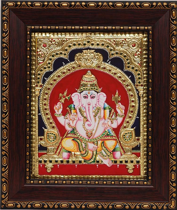 Lord Ganesha Glass Paintings Painting of Lord Ganesha