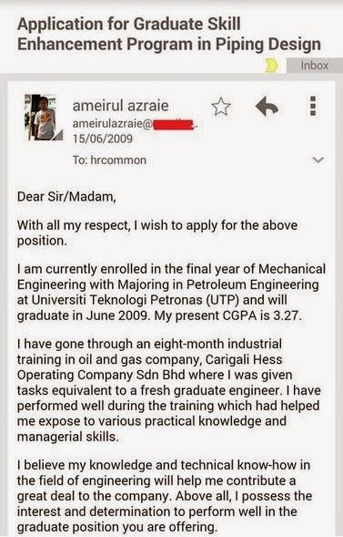 contoh permohonan kerja melalui email yang power