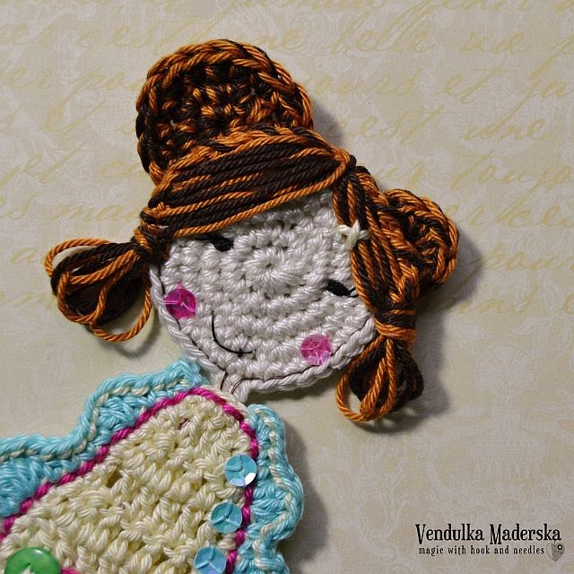 crochet sweet girl applique free pattern