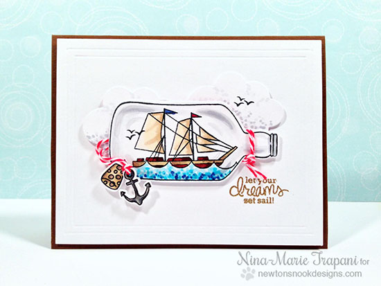 Ship in a bottle Card by Nina-Marie Trapani | Message in a Bottle Stamp set by Newton's Nook Designs